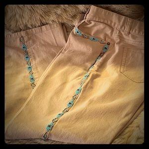 Lauren Ralph Lauren khaki jeans w beadwork